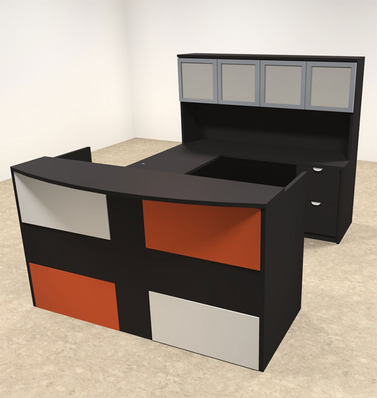 5pc U Shaped Modern Acrylic Panel Office Reception Desk, #OT-SUL-RM44