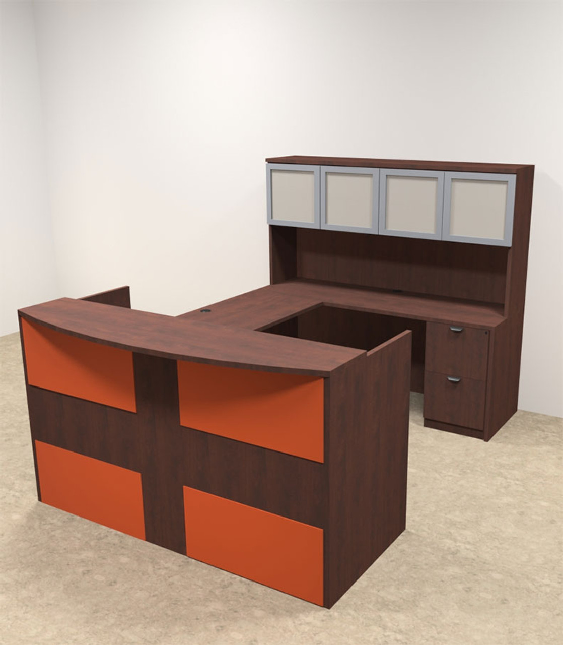 5pc U Shaped Modern Acrylic Panel Office Reception Desk, #OT-SUL-RO30