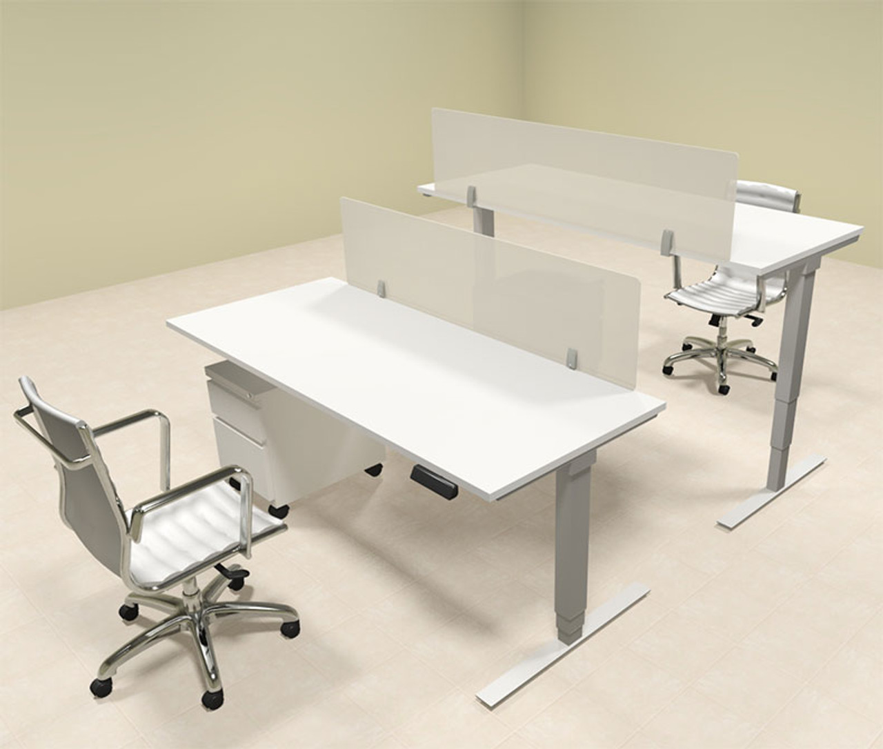 Two Persons Modern Power Adjustable Divider Workstation, #OF-CON-HP13