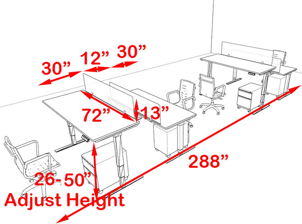 Four Persons Modern Power Adjustable Divider Workstation, #OF-CON-HP22