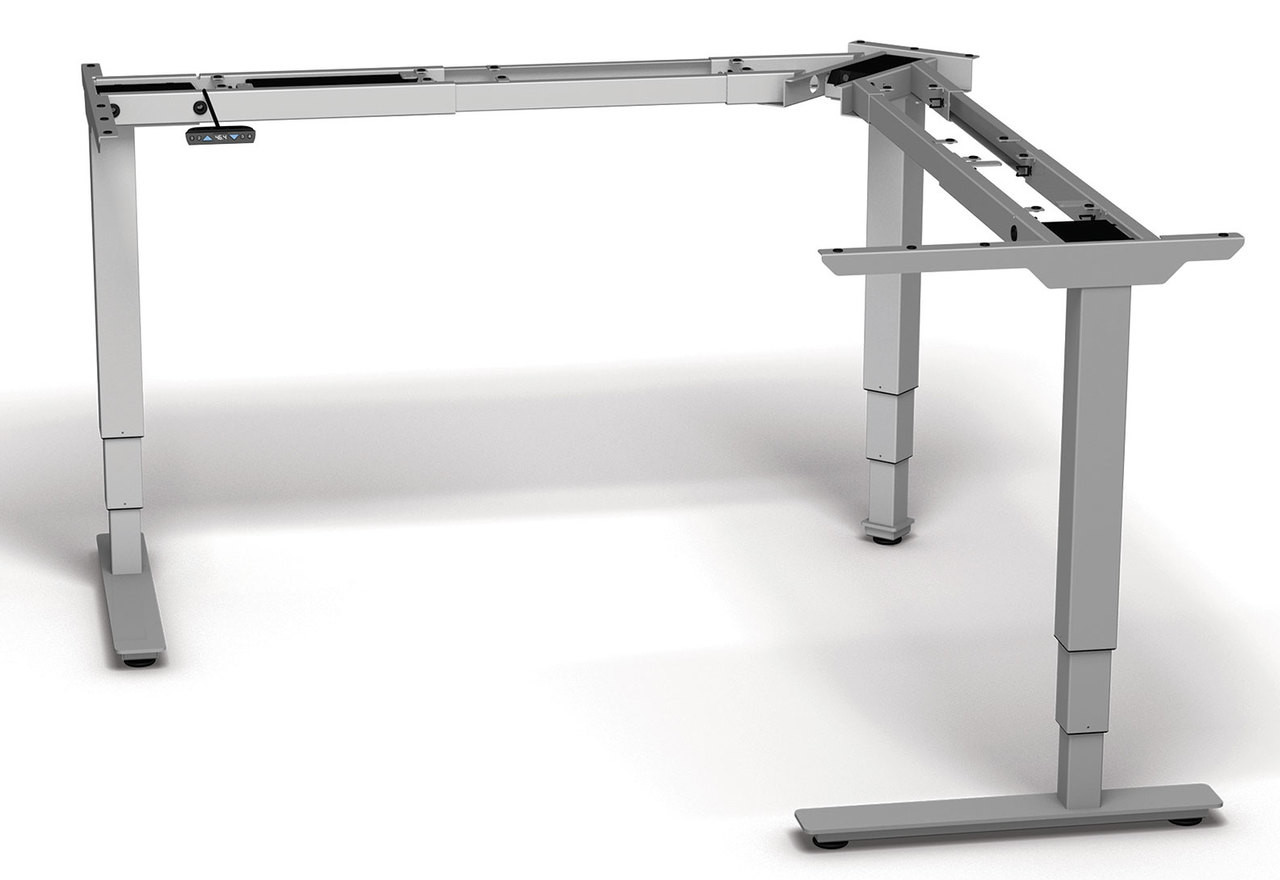 Two Persons L Shaped Power Adjustable Divider Workstation, #OF-CON-HP26