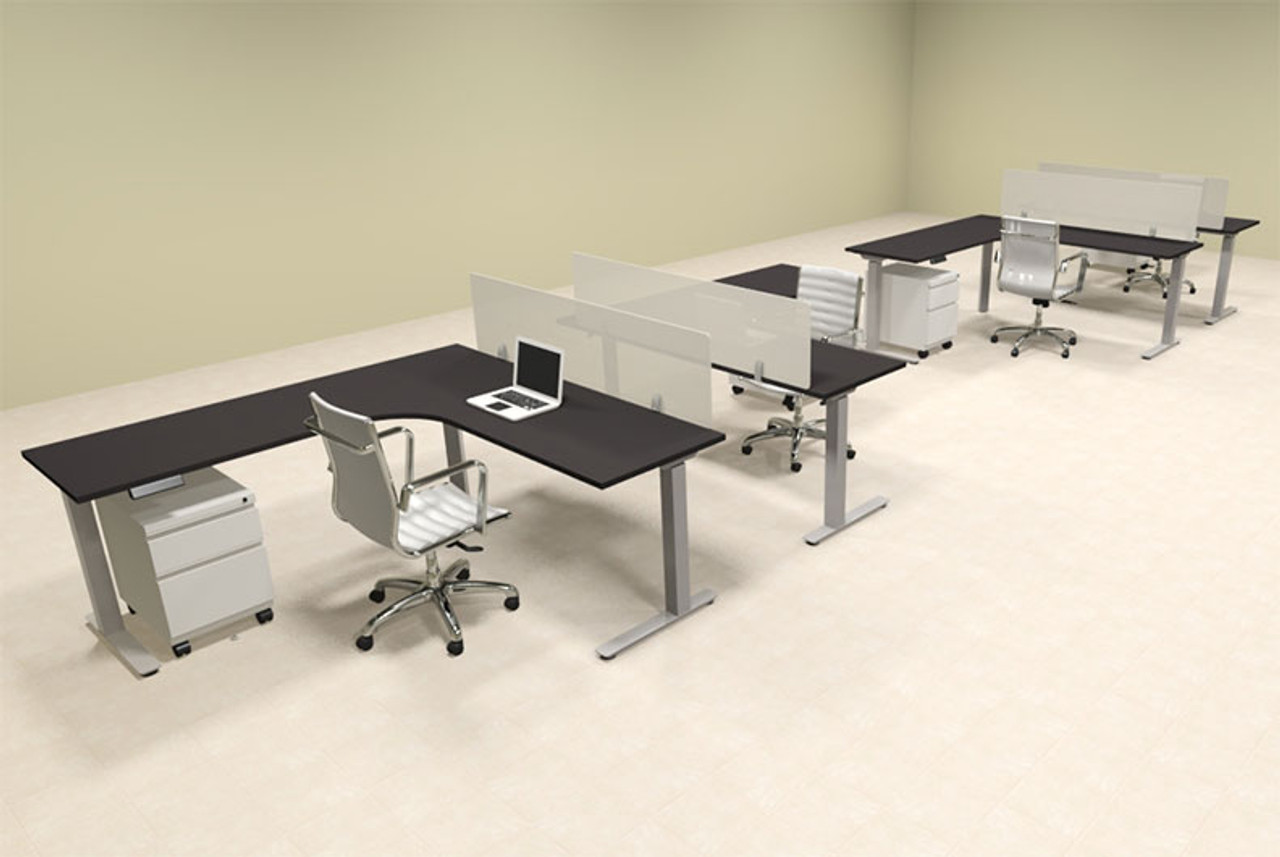 Four Persons L Shaped Power Adjustable Divider Workstation, #OF-CON-HP48