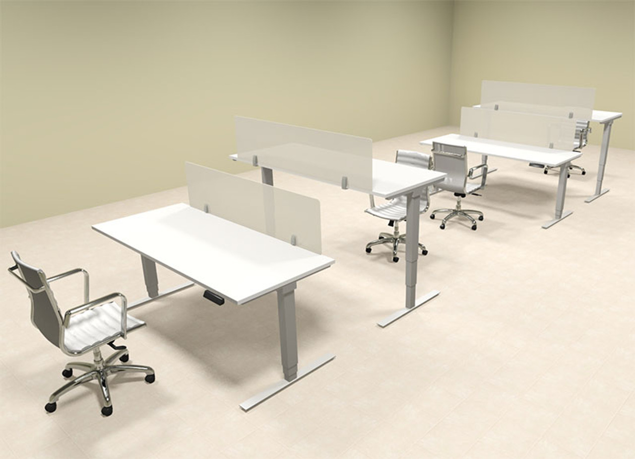 Four Persons Modern Power Adjustable Divider Workstation, #OF-CON-HP7
