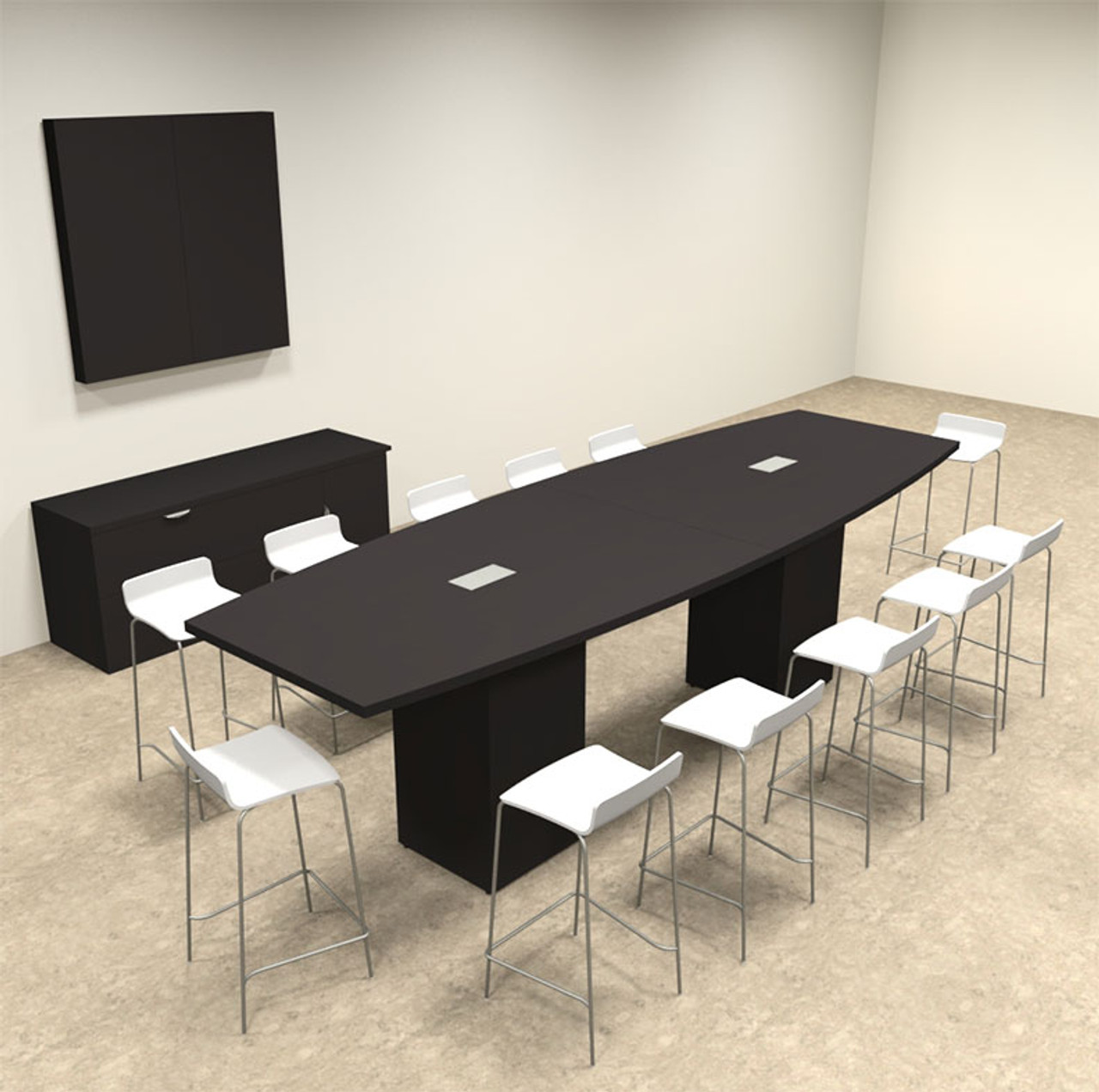 Boat Shape Counter Height 12' Feet Conference Table, #OF-CON-CT12