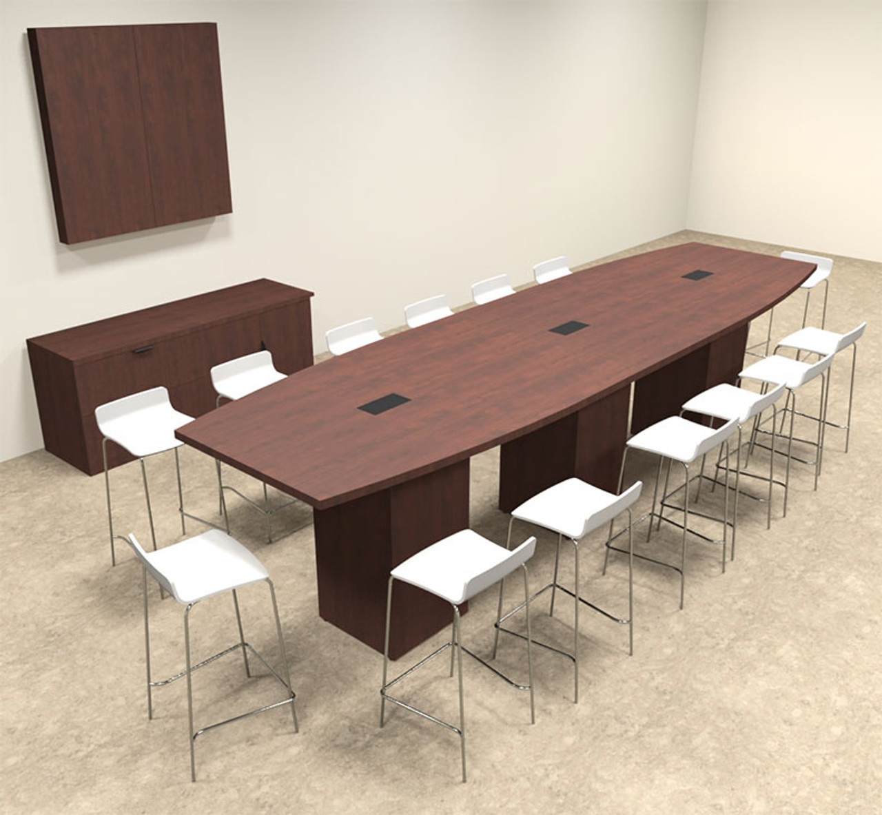Boat Shape Counter Height 14' Feet Conference Table, #OF-CON-CT15
