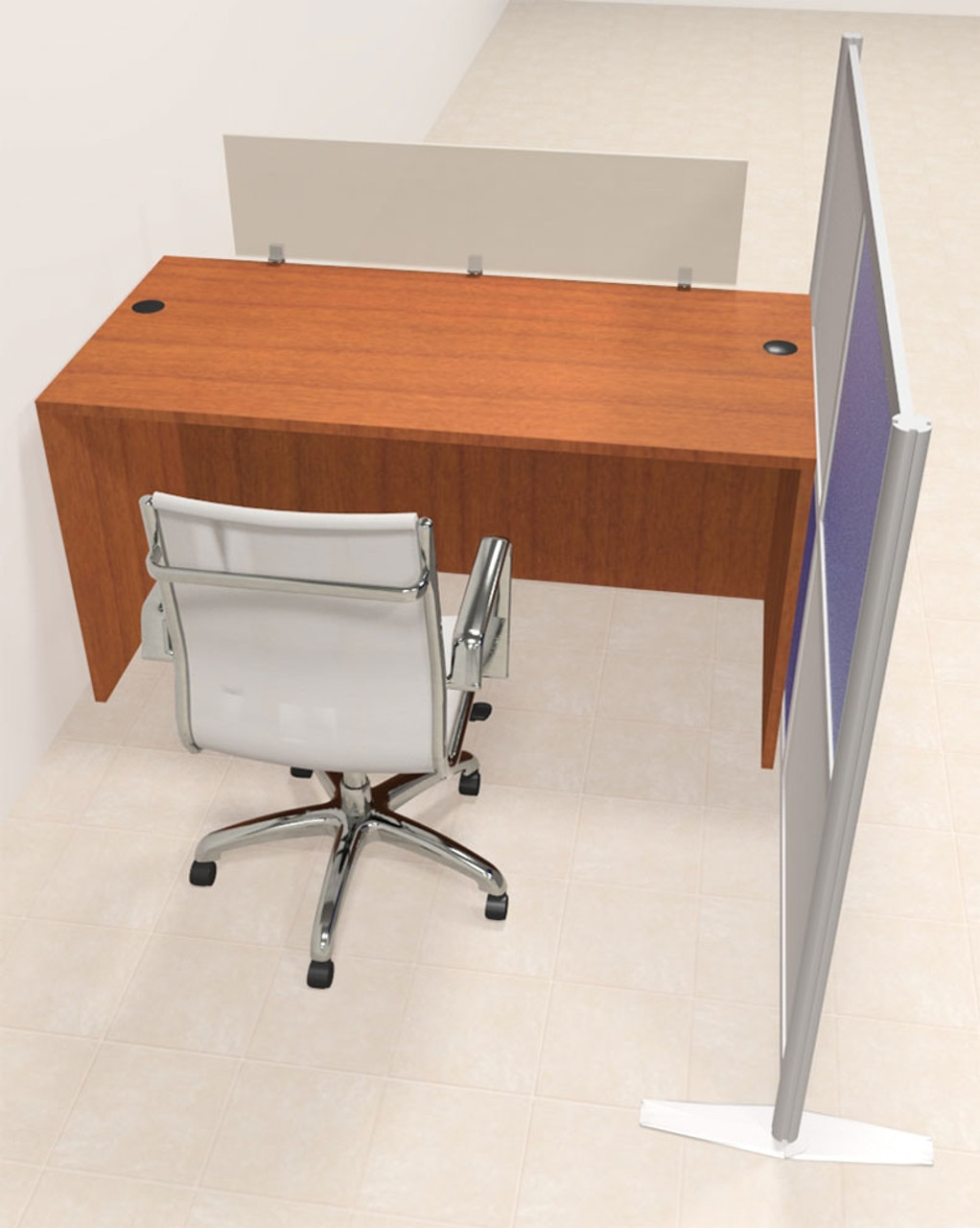 One Person Workstation w/Acrylic Aluminum Privacy Panel, #OT-SUL-HPB1