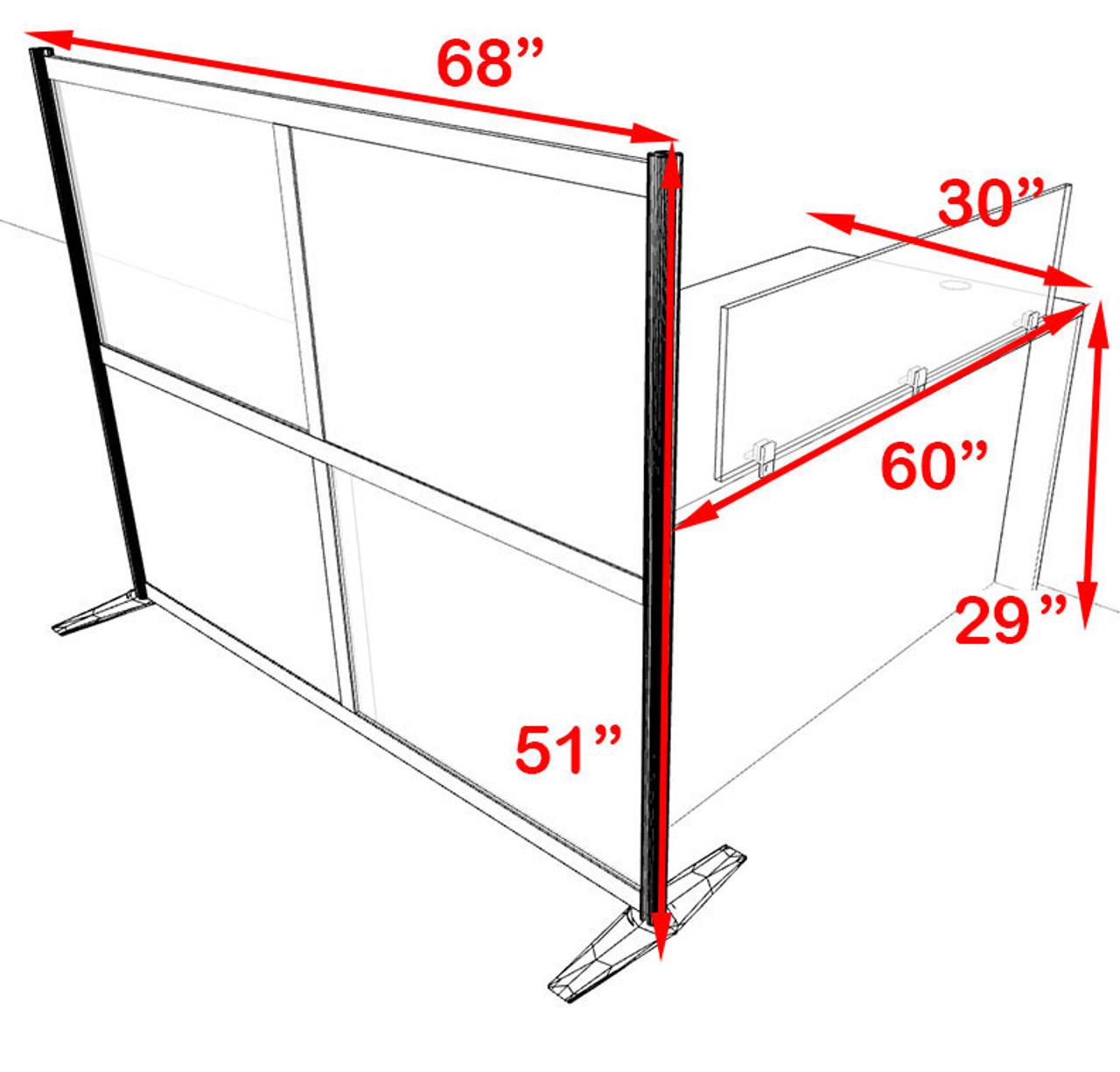 One Person Workstation w/Acrylic Aluminum Privacy Panel, #OT-SUL-HPB1
