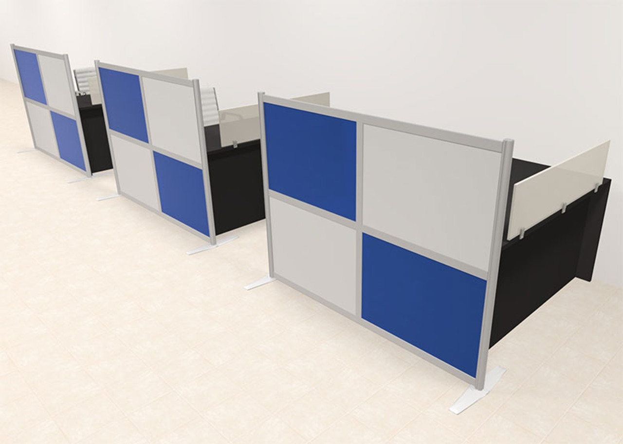 Three Person Workstation w/Acrylic Aluminum Privacy Panel, #OT-SUL-HPB12