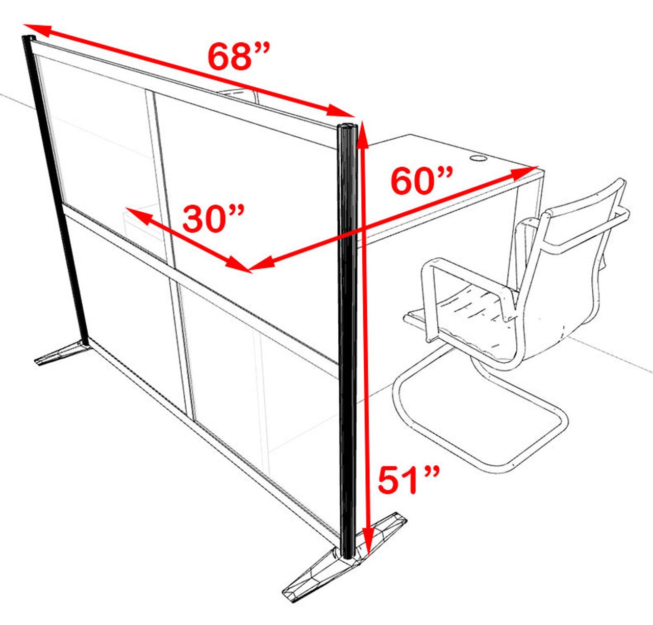 One Person Workstation w/Acrylic Aluminum Privacy Panel, #OT-SUL-HPB13