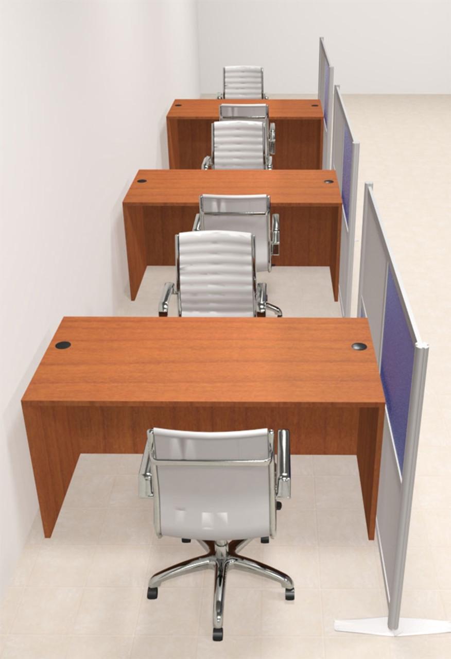 Three Person Workstation w/Acrylic Aluminum Privacy Panel, #OT-SUL-HPB21