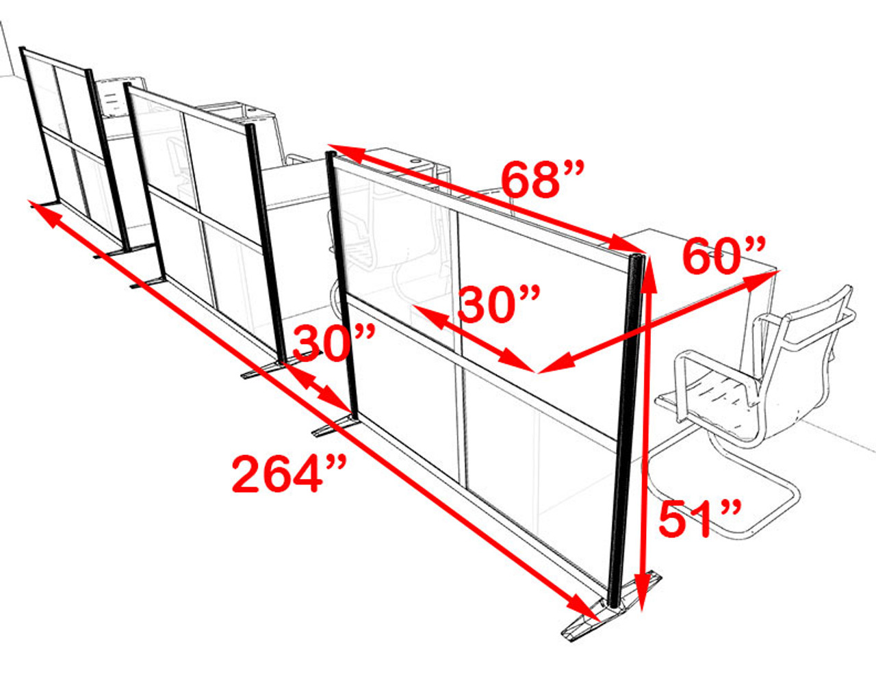 Three Person Workstation w/Acrylic Aluminum Privacy Panel, #OT-SUL-HPB23