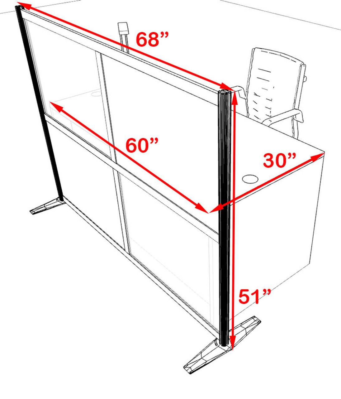 One Person Workstation w/Acrylic Aluminum Privacy Panel, #OT-SUL-HPB27