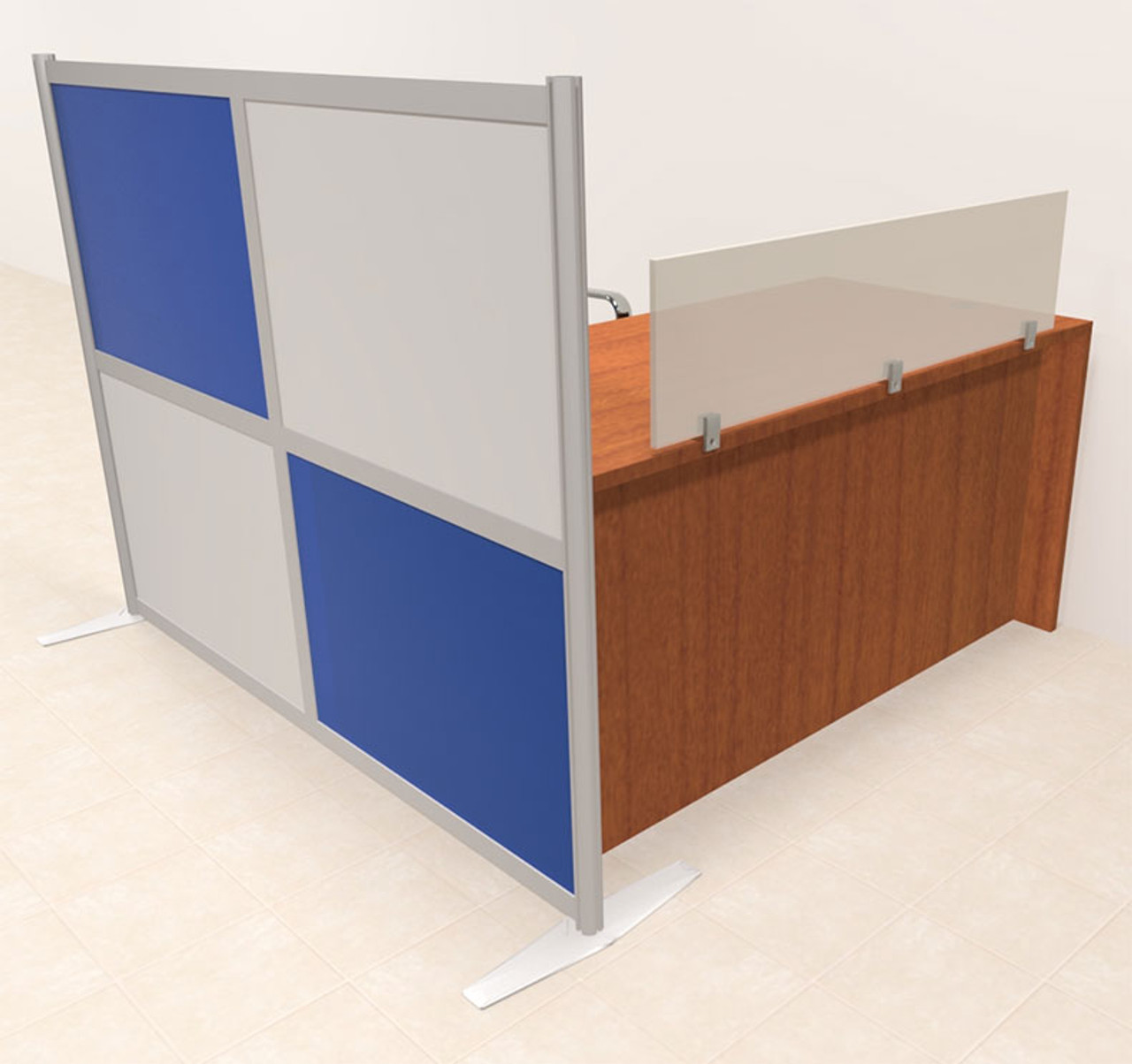 One Person Workstation w/Acrylic Aluminum Privacy Panel, #OT-SUL-HPB37
