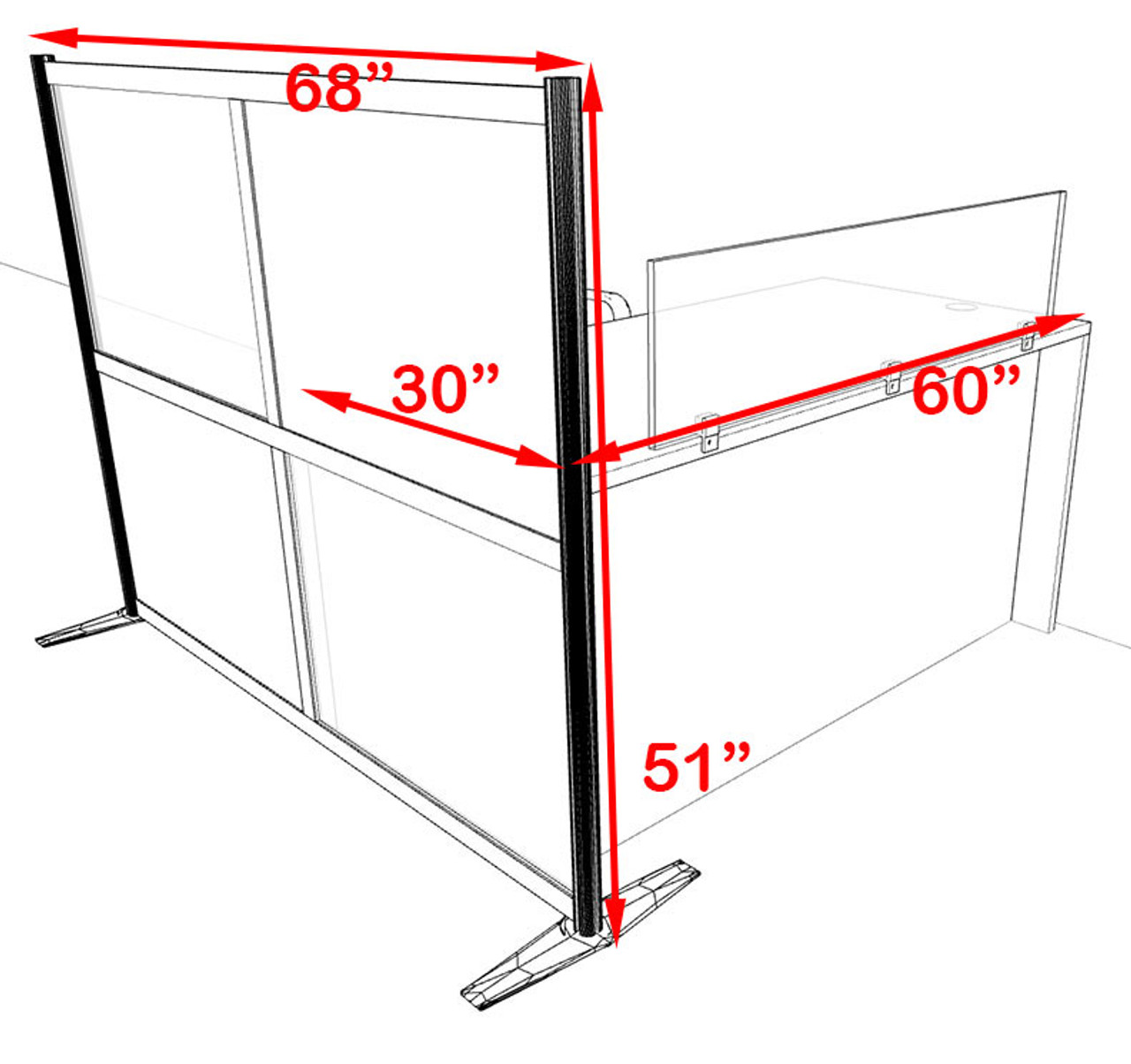 One Person Workstation w/Acrylic Aluminum Privacy Panel, #OT-SUL-HPB40