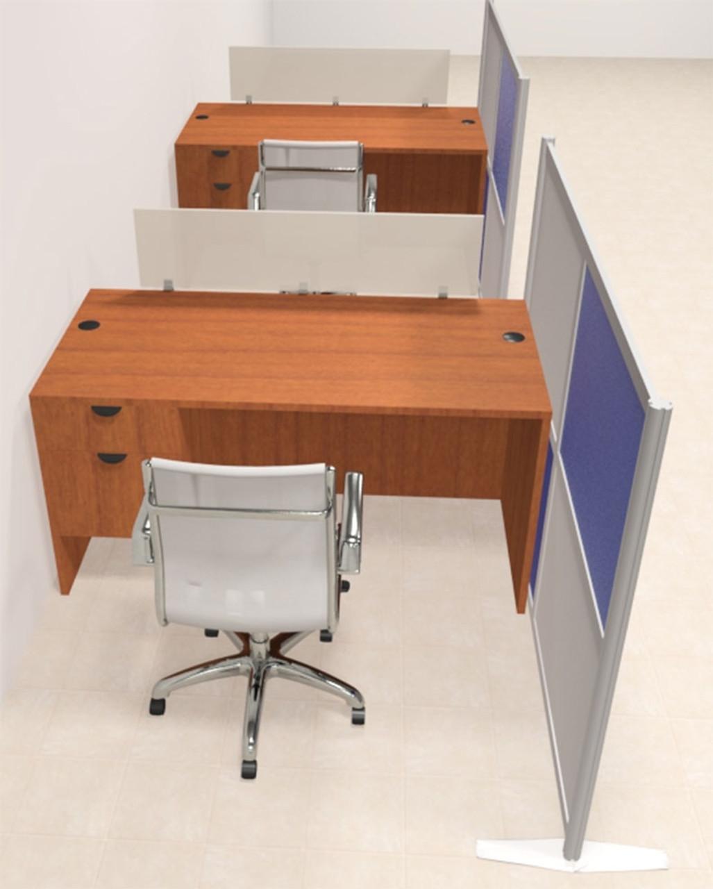 Two Person Workstation w/Acrylic Aluminum Privacy Panel, #OT-SUL-HPB41