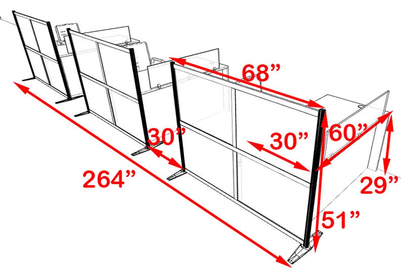 Three Person Workstation w/Acrylic Aluminum Privacy Panel, #OT-SUL-HPB48