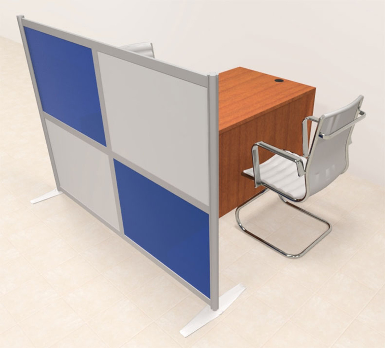 One Person Workstation w/Acrylic Aluminum Privacy Panel, #OT-SUL-HPB49