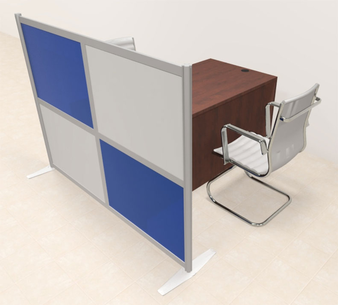 One Person Workstation w/Acrylic Aluminum Privacy Panel, #OT-SUL-HPB50
