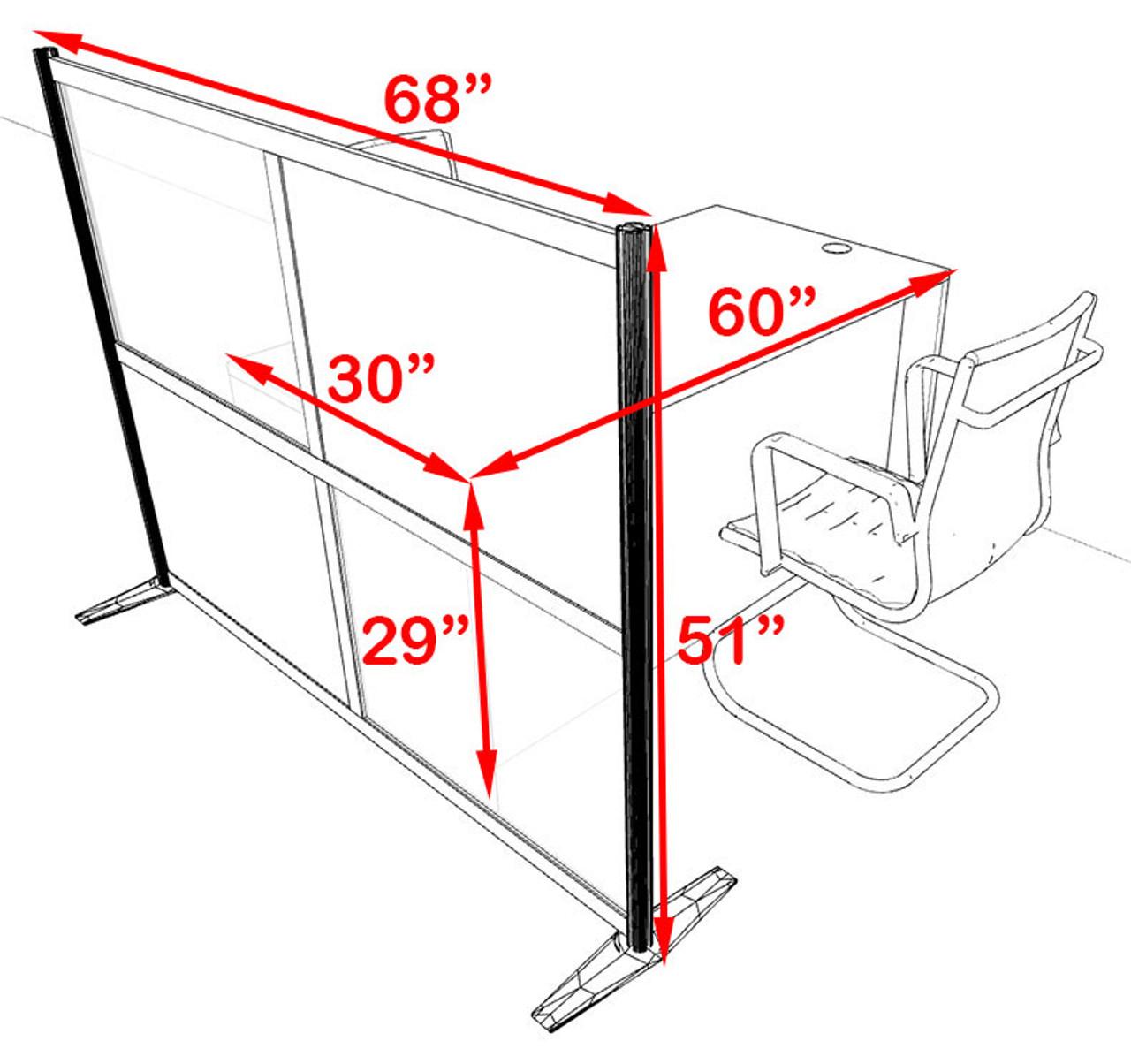 One Person Workstation w/Acrylic Aluminum Privacy Panel, #OT-SUL-HPB52