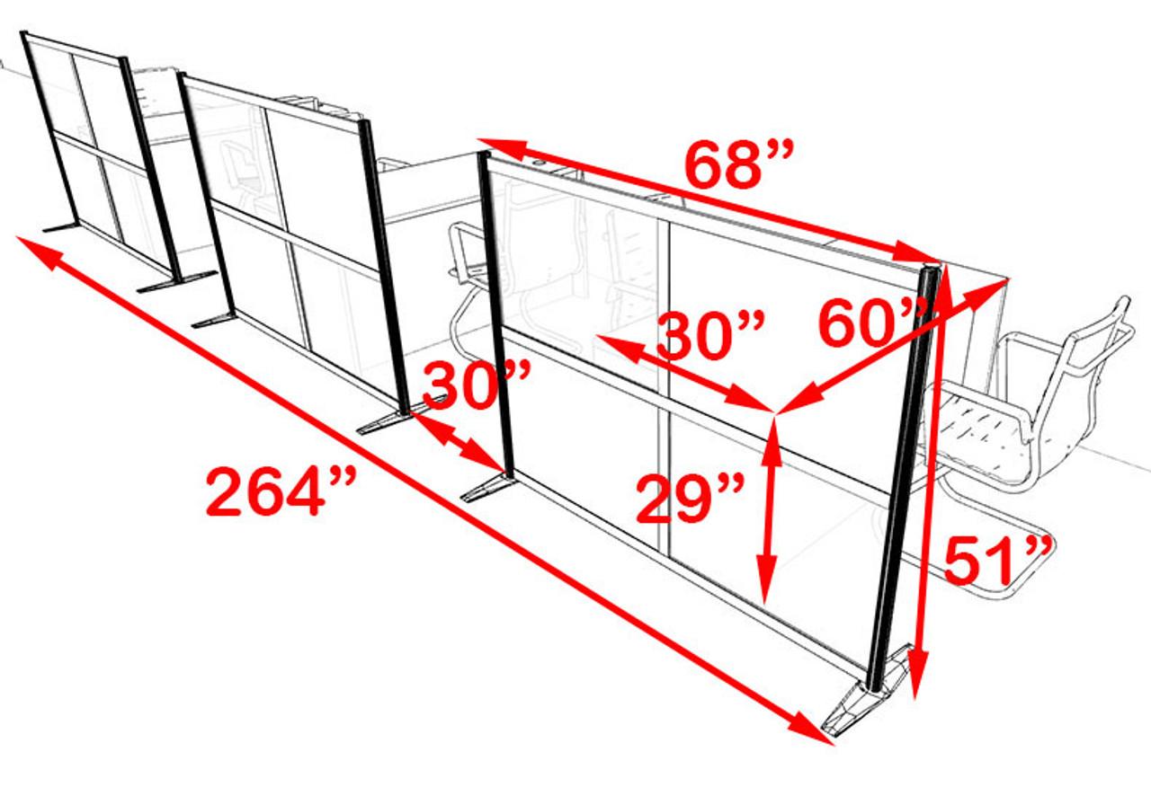 Three Person Workstation w/Acrylic Aluminum Privacy Panel, #OT-SUL-HPB57