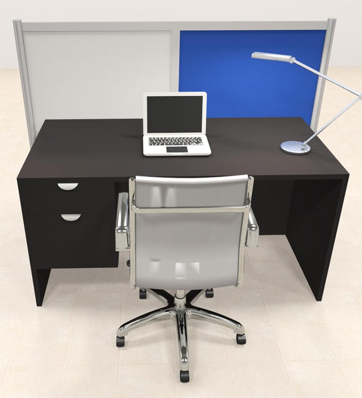 One Person Workstation w/Acrylic Aluminum Privacy Panel, #OT-SUL-HPB64