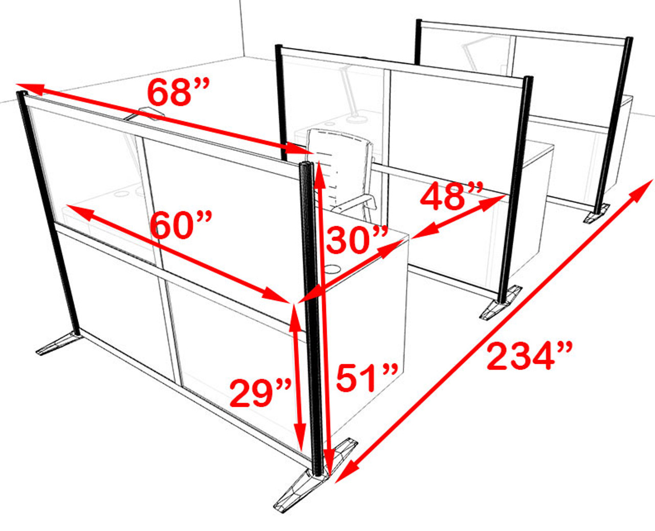 Three Person Workstation w/Acrylic Aluminum Privacy Panel, #OT-SUL-HPB69
