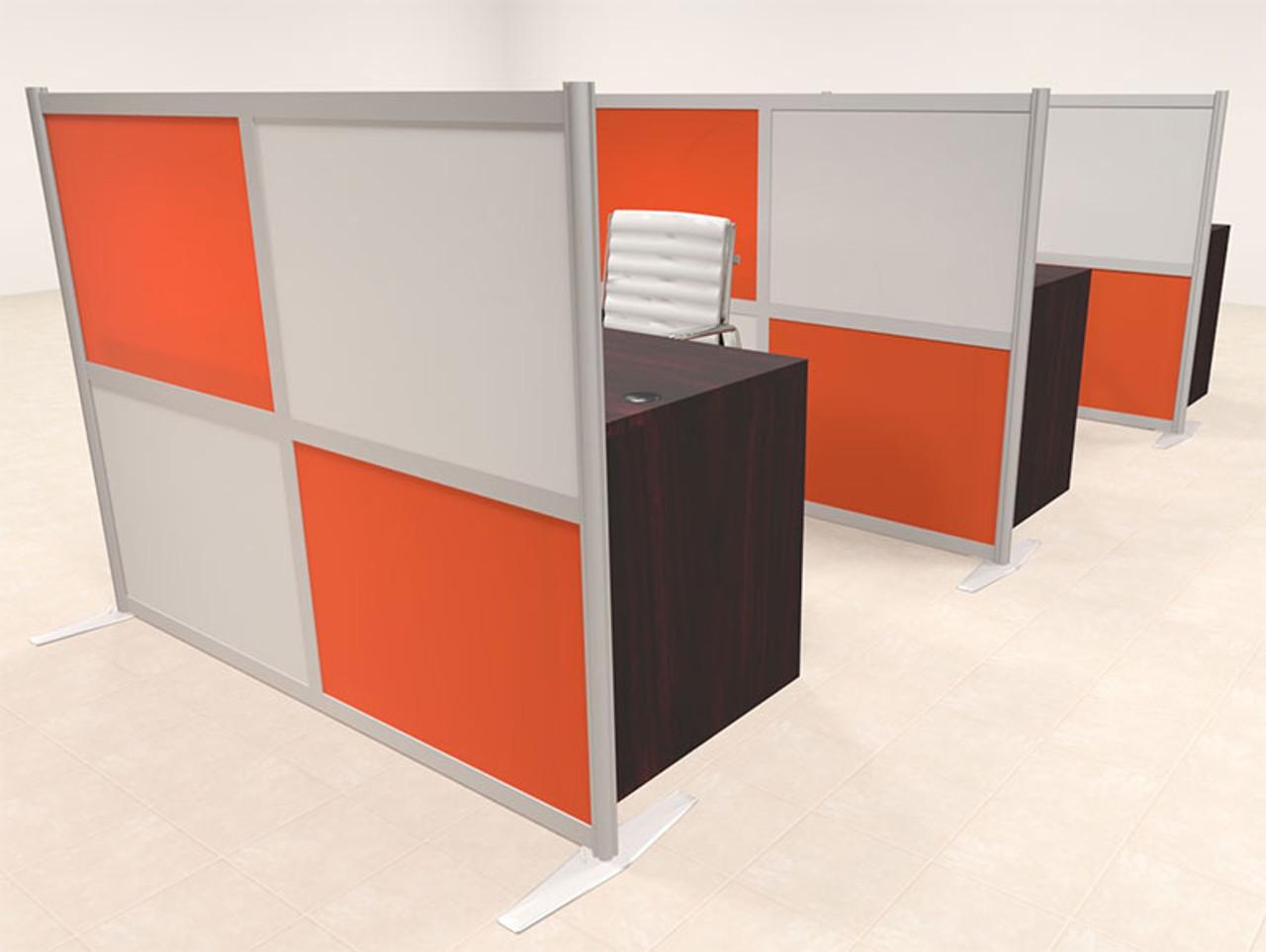 Three Person Workstation w/Acrylic Aluminum Privacy Panel, #OT-SUL-HPO107