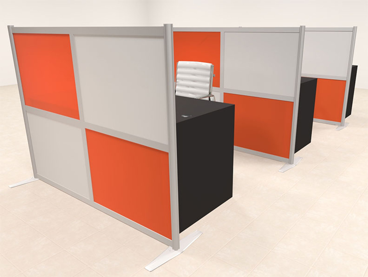 Three Person Workstation w/Acrylic Aluminum Privacy Panel, #OT-SUL-HPO108