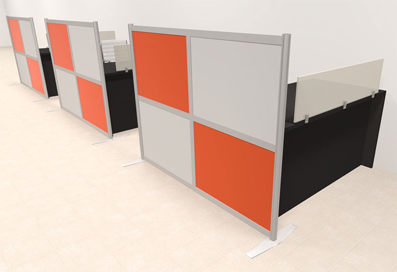 Three Person Workstation w/Acrylic Aluminum Privacy Panel, #OT-SUL-HPO120