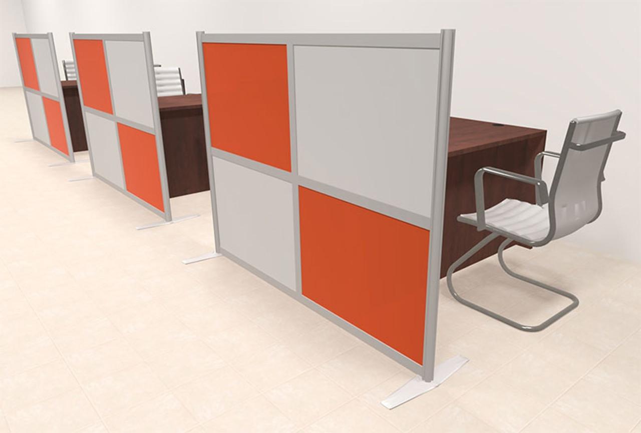 Three Person Workstation w/Acrylic Aluminum Privacy Panel, #OT-SUL-HPO130