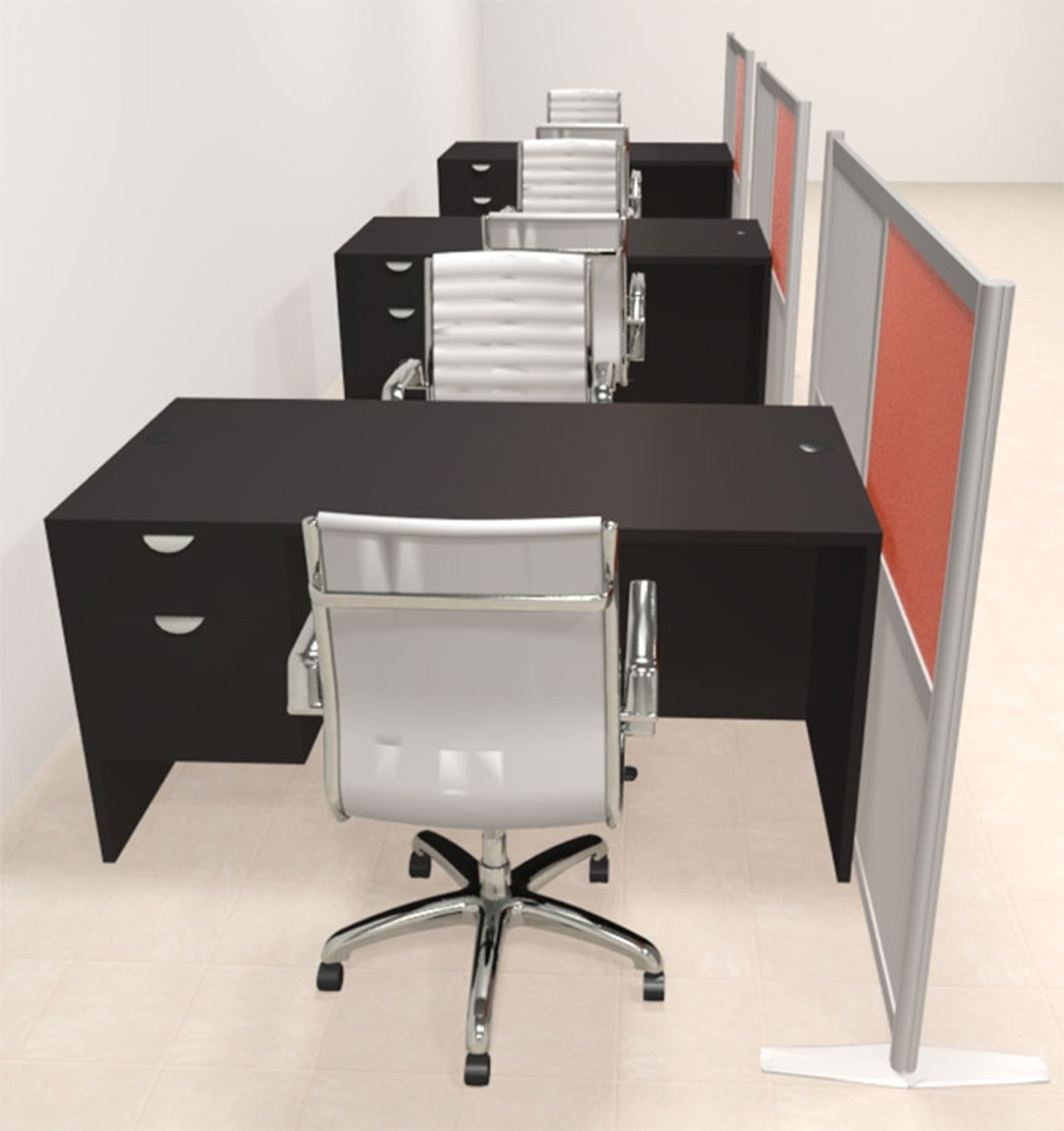 Three Person Workstation w/Acrylic Aluminum Privacy Panel, #OT-SUL-HPO132