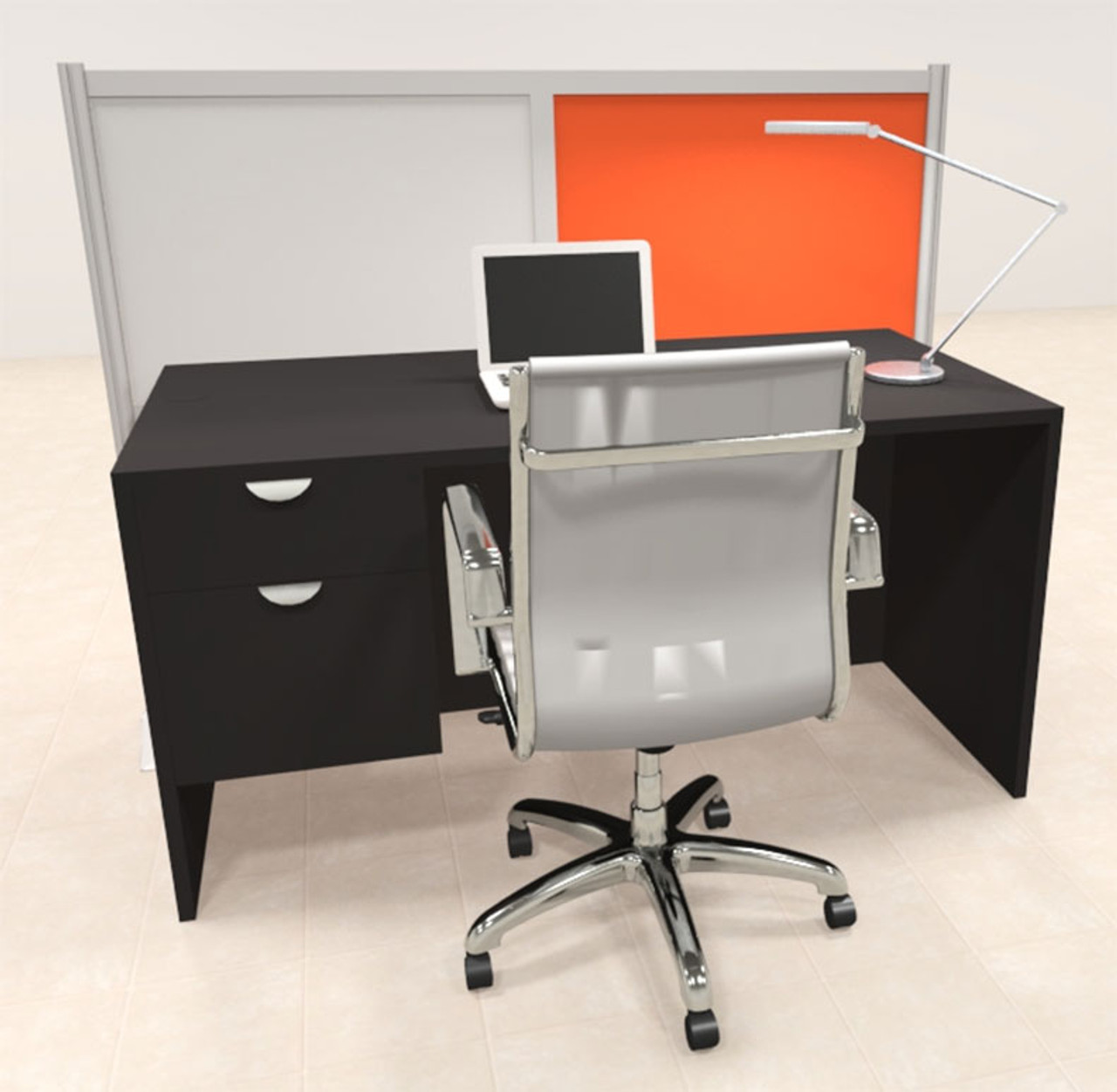 One Person Workstation w/Acrylic Aluminum Privacy Panel, #OT-SUL-HPO136