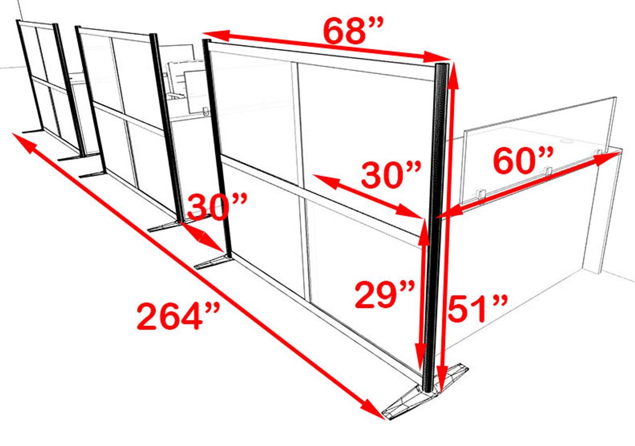 Three Person Workstation w/Acrylic Aluminum Privacy Panel, #OT-SUL-HPO81
