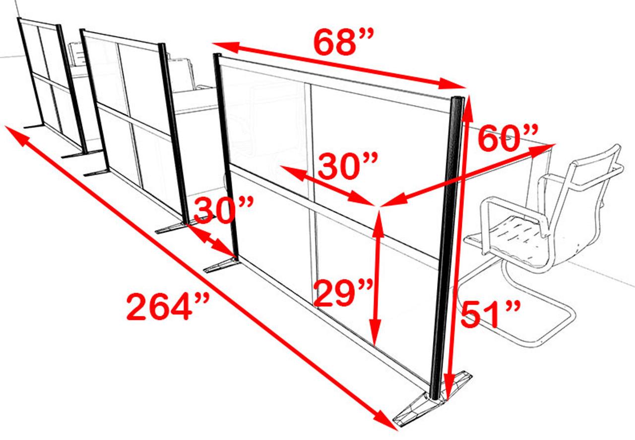 Three Person Workstation w/Acrylic Aluminum Privacy Panel, #OT-SUL-HPO94