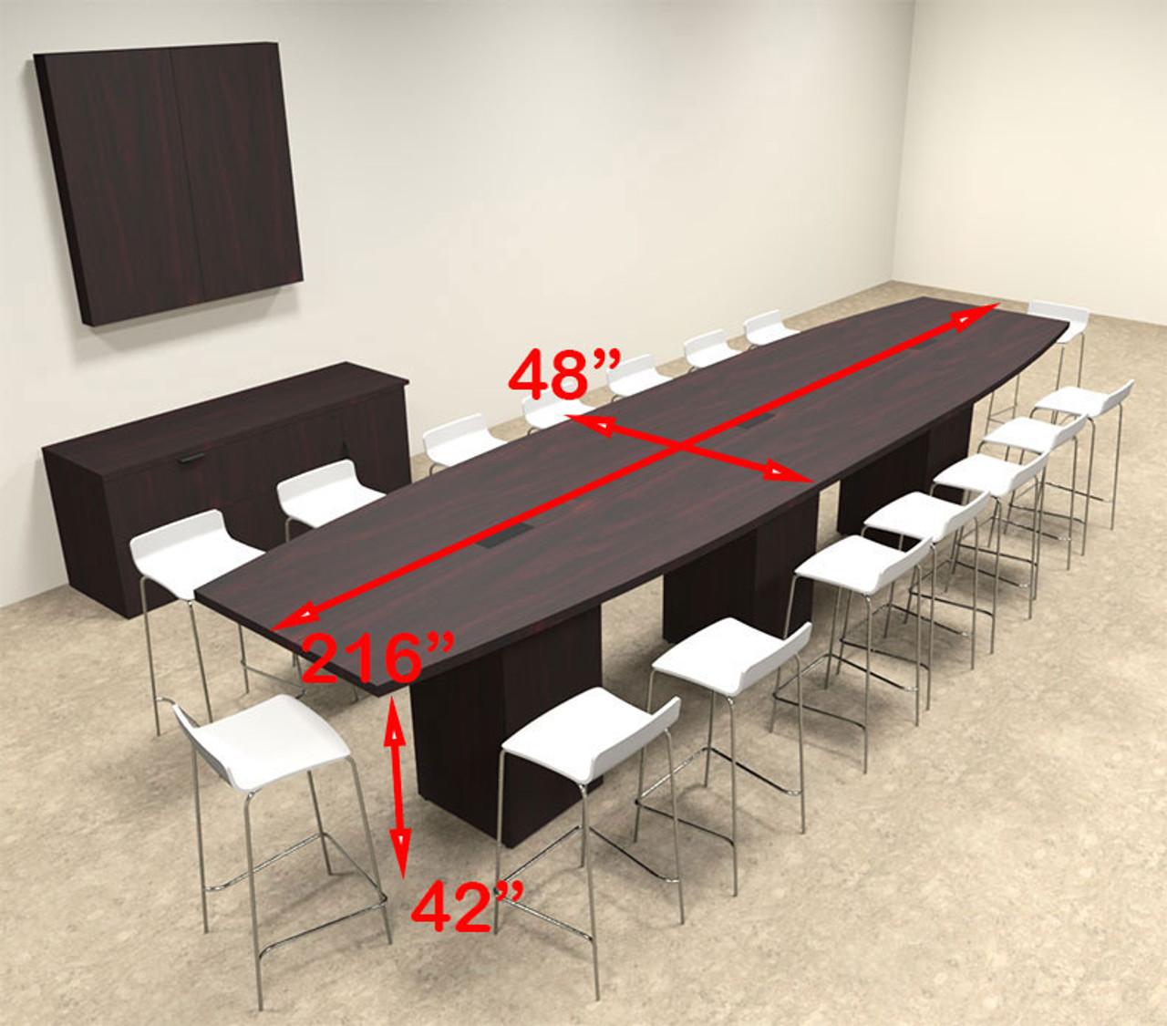 Boat Shape Counter Height 16' Feet Conference Table, #OF-CON-CT23