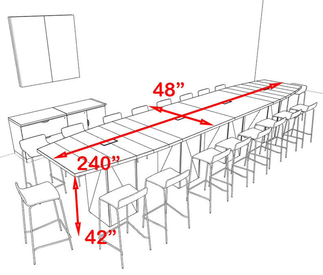Boat Shape Counter Height 18' Feet Conference Table, #OF-CON-CT25