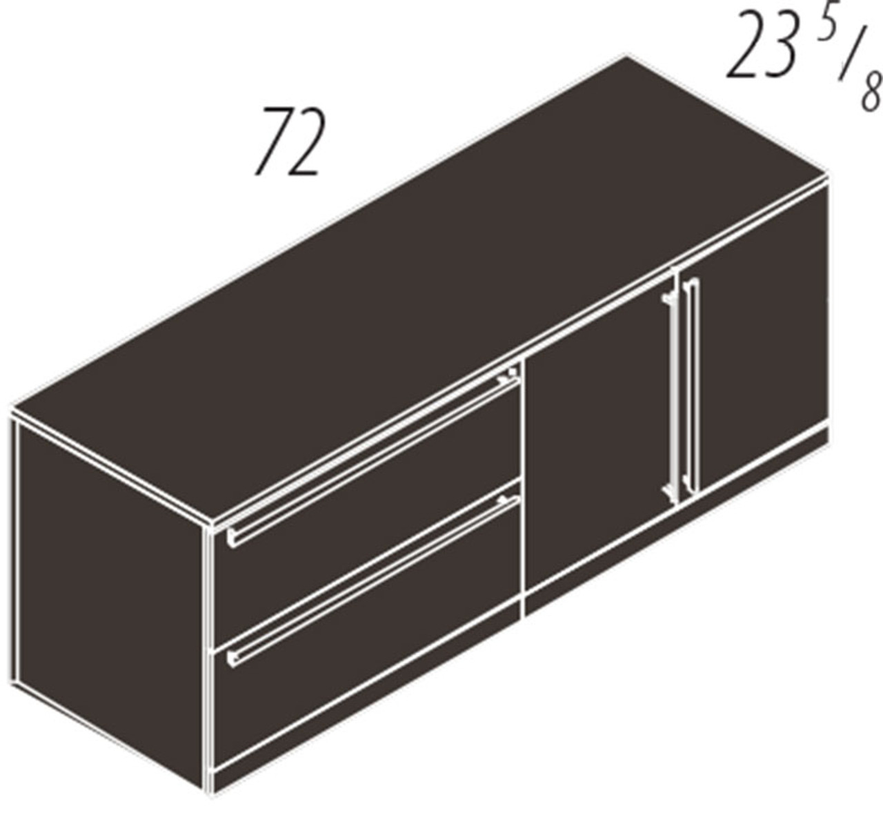 2 Doors 2 Drawers Lateral File Low Wall Cabinet, #CH-VER-CAB13