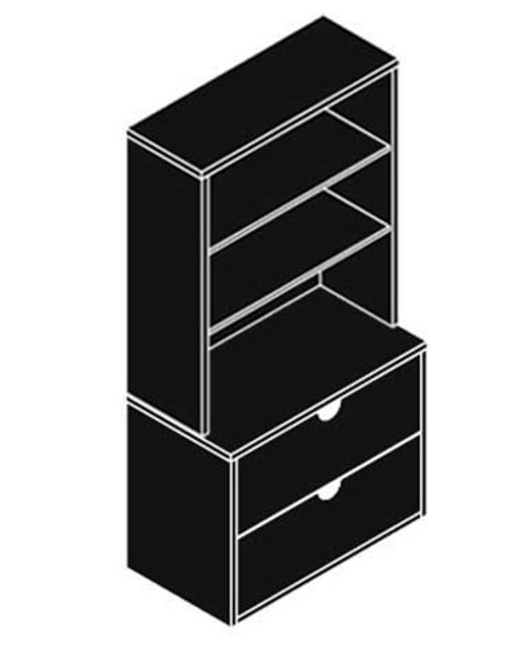 Lateral File Cabinet + Hutch, #CH-JAD-CAB1