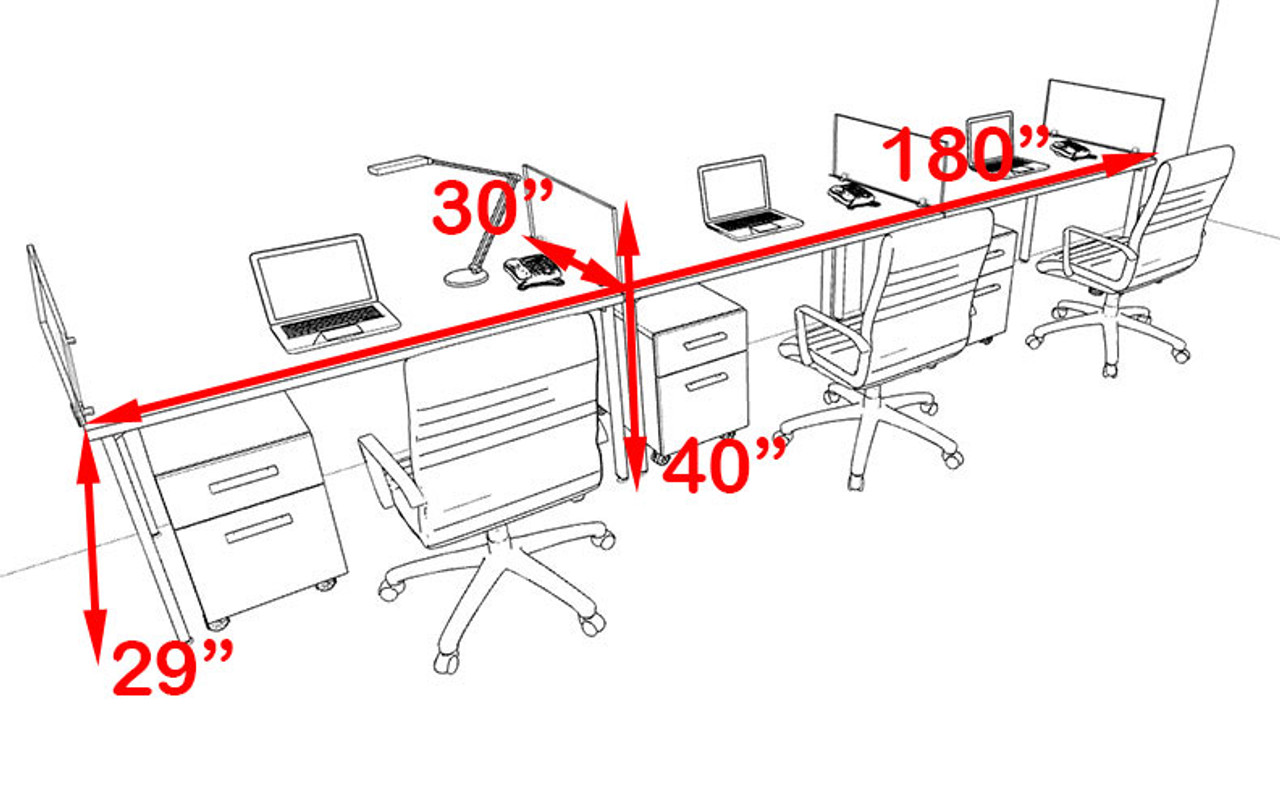 Three Persons Modern Acrylic Divider Workstation, #MT-FIV-SP34