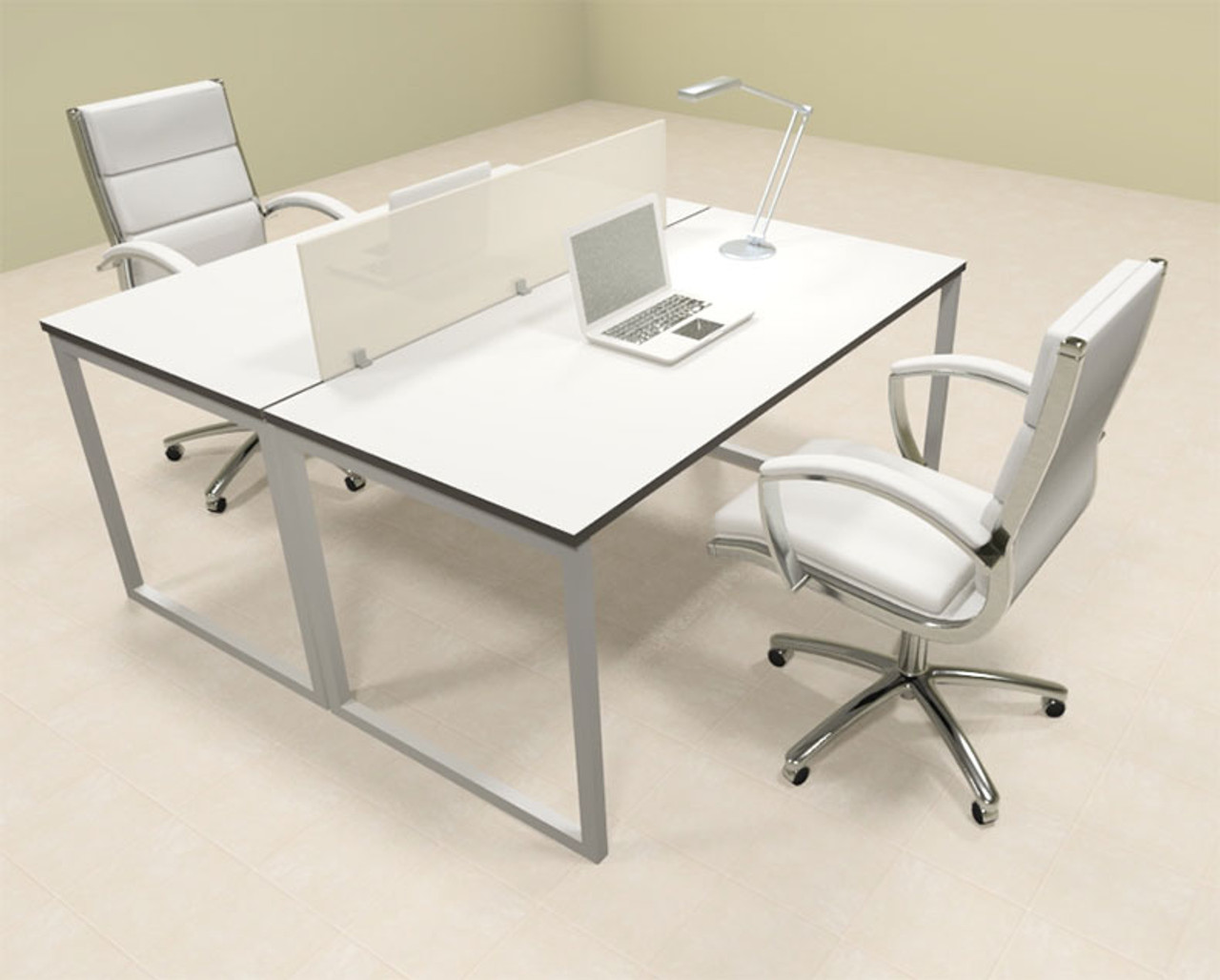 Two Person Modern Acrylic Divider Office Workstation, #AL-OPN-FP1