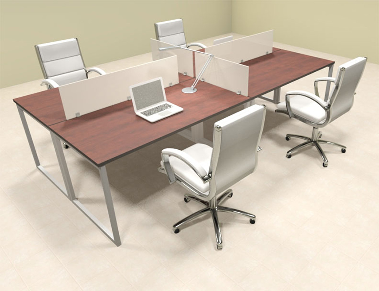 Four Person Modern Acrylic Divider Office Workstation, #AL-OPN-FP10
