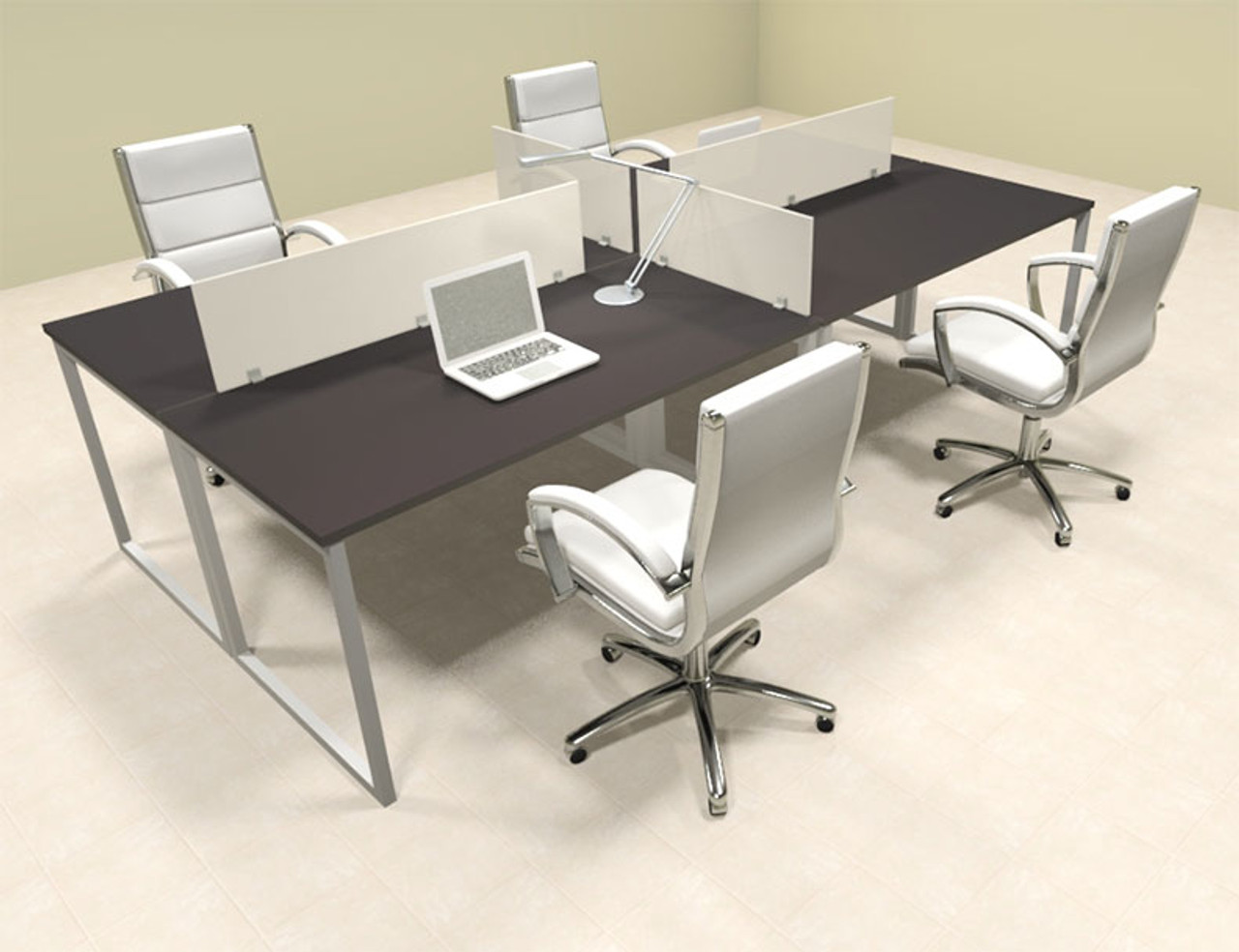 Four Person Modern Acrylic Divider Office Workstation, #AL-OPN-FP12