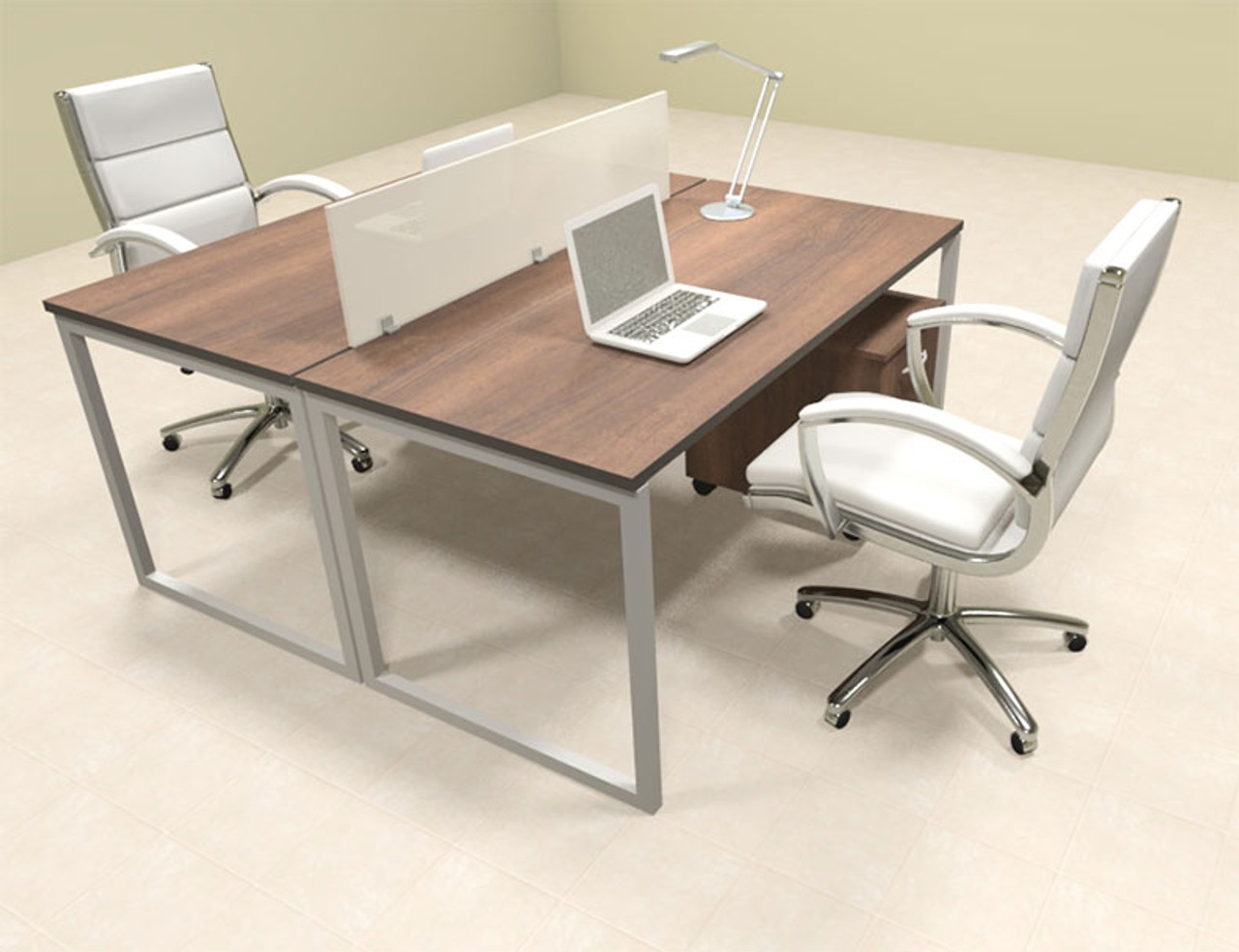 Two Person Modern Acrylic Divider Office Workstation, #AL-OPN-FP21