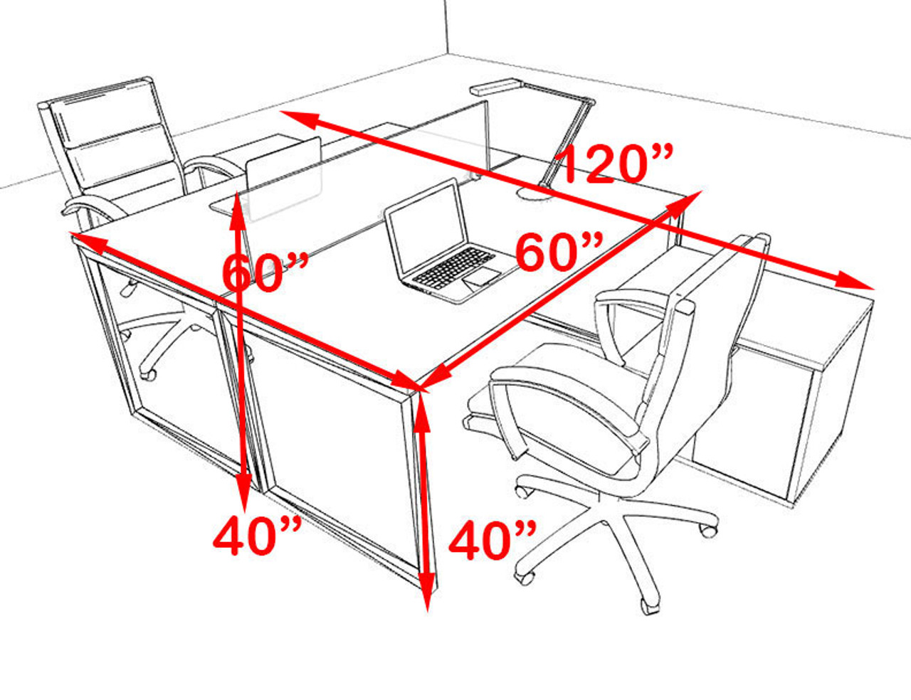Two Person Modern Acrylic Divider Office Workstation, #AL-OPN-FP38