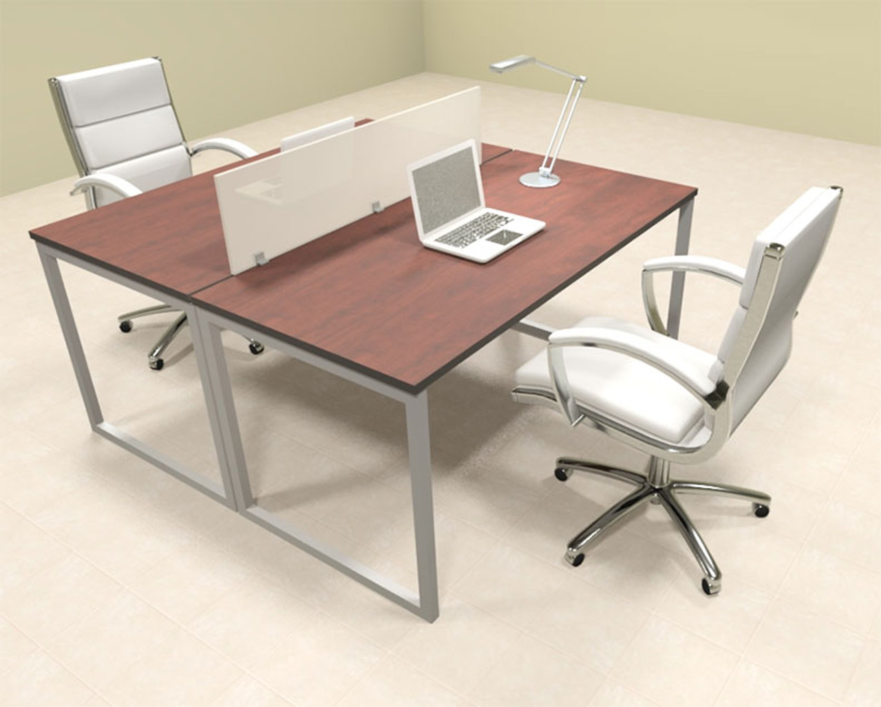 Two Person Modern Acrylic Divider Office Workstation, #AL-OPN-FP4