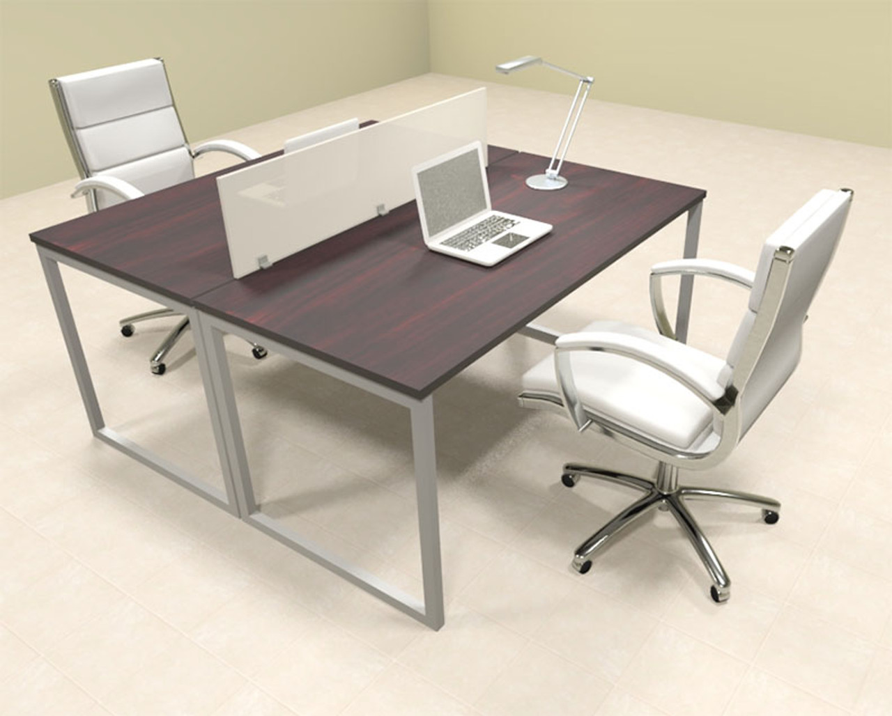 Two Person Modern Acrylic Divider Office Workstation, #AL-OPN-FP5