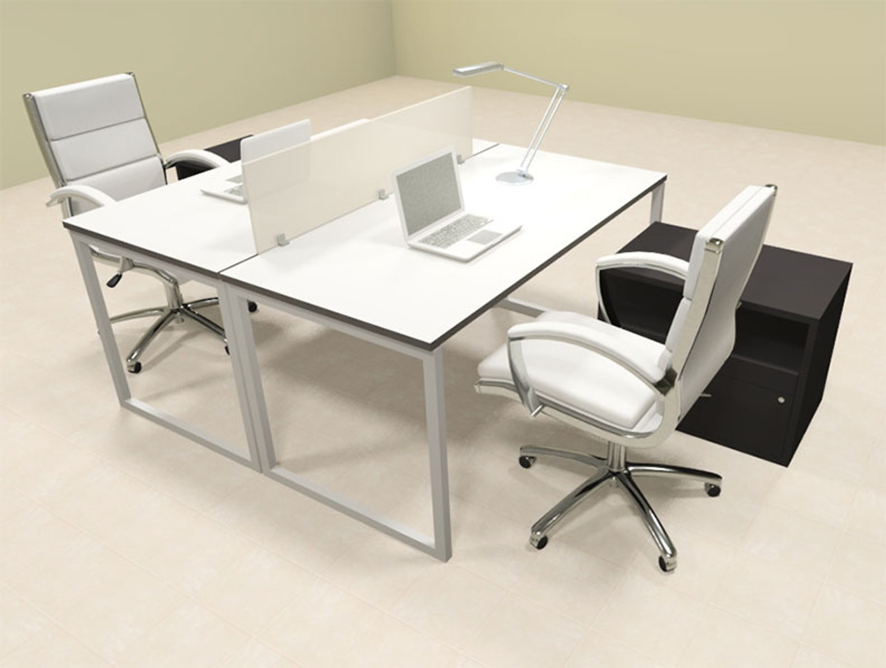 Two Person Modern Acrylic Divider Office Workstation, #AL-OPN-FP55