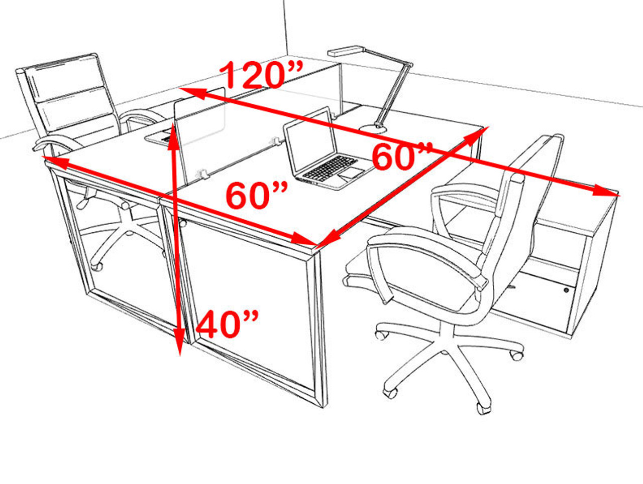 Two Person Modern Acrylic Divider Office Workstation, #AL-OPN-FP60