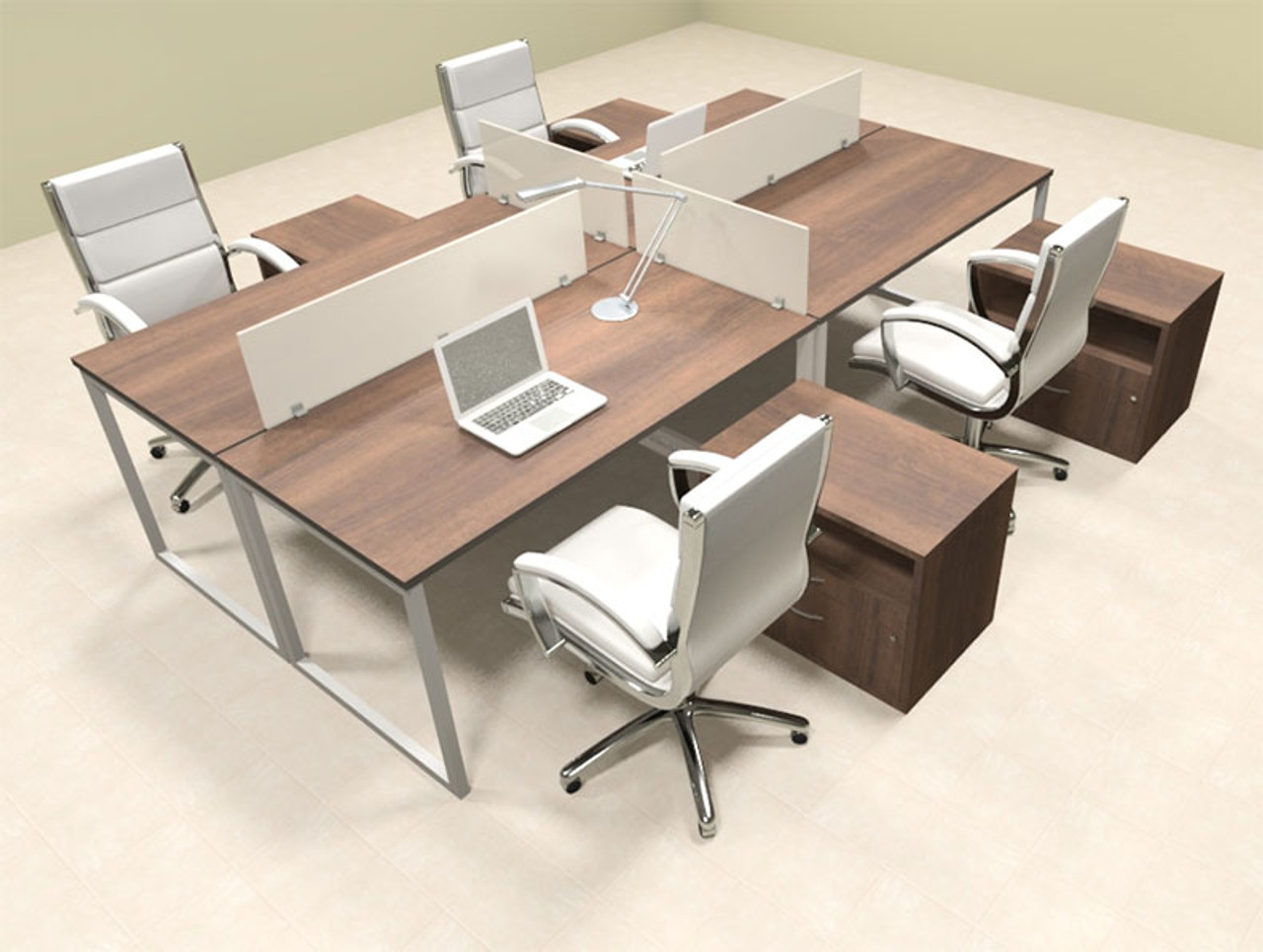 Four Person Modern Acrylic Divider Office Workstation, #AL-OPN-FP63