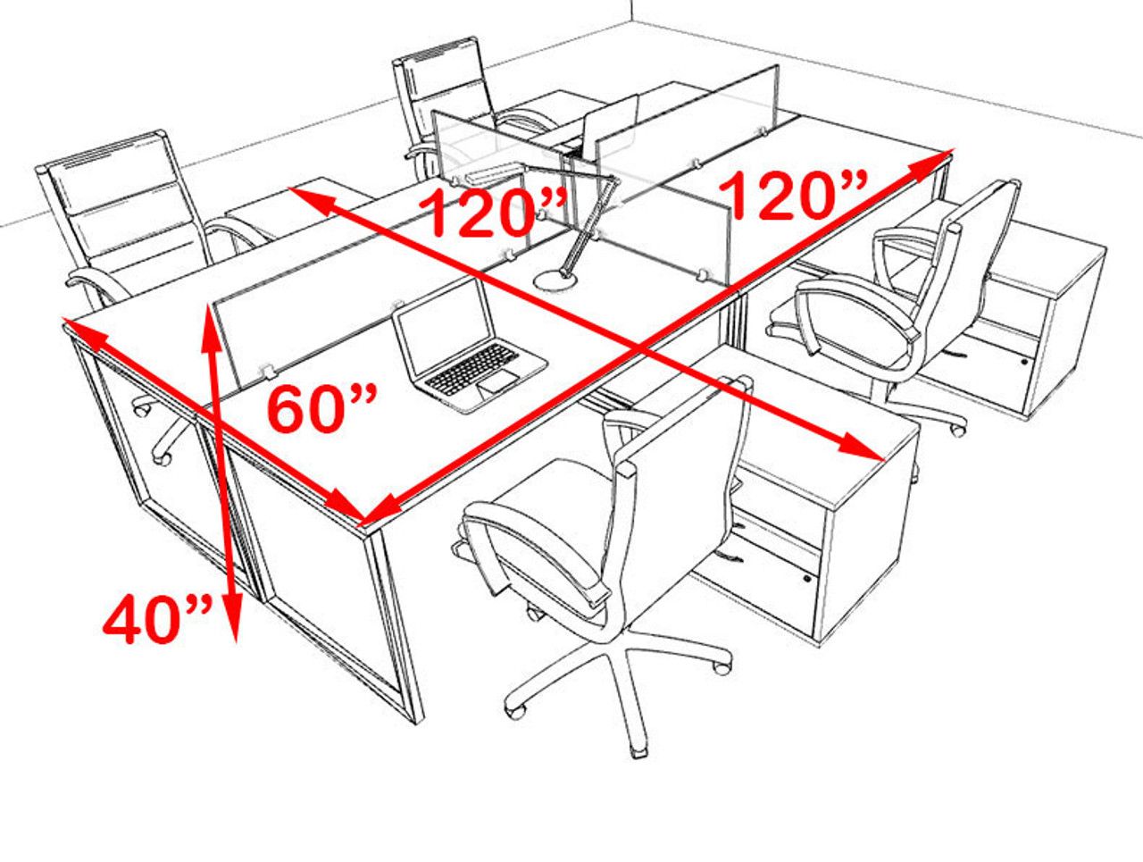 Four Person Modern Acrylic Divider Office Workstation, #AL-OPN-FP64